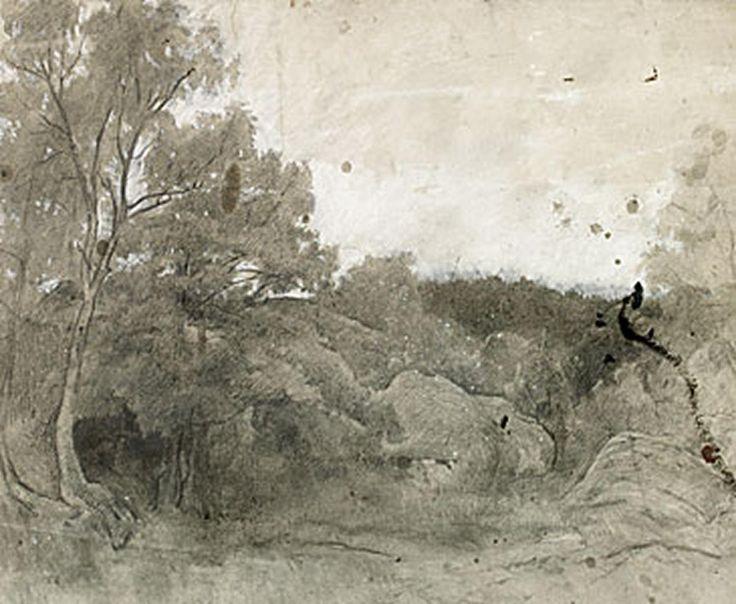 Carl Fredrik Hill, 1849 – 1911 Franskt Landskap c. 1874 Blyerts, kol och vit gouache på papper 74.50 x 63.00 cm