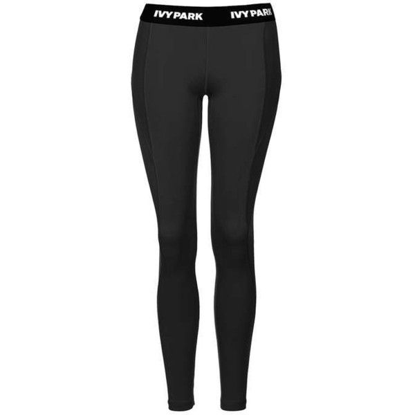 """I"" Low-Rise Ankle Leggings by Ivy Park - Topshop ($65) ❤ liked on Polyvore featuring pants, leggings, bottoms, jeans, black, low rise leggings, topshop, low rise pants, topshop leggings and legging pants"