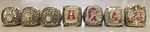 Alabama Crimson Tide 7 Ring Championship Ring Replicas - 1973 78 79 1992 2009 11 16 - Shipped from USA