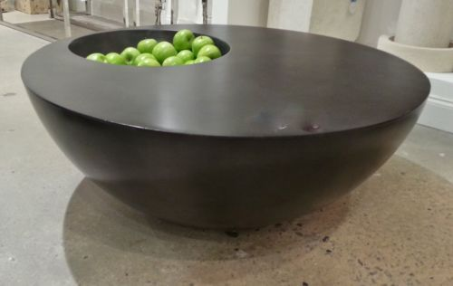 43 Quot Round Indent Coffee Table Slate Grey Concrete Cocktail