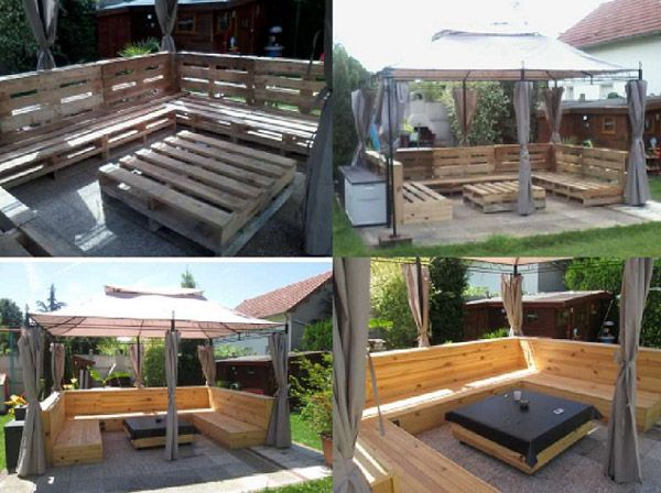 "Don't forget our ""40 Fantastic Ways Of How To Reuse Old Wooden Pallets"". Pallets are cheap, stylish, and easy to find. They've become a useful resource in home decor and design. This stunning DIY pallet patio furniture set from '1001 Pallets' would look great in any outdoor space, and is sure to inspire you. Source: 1001pallets.com"