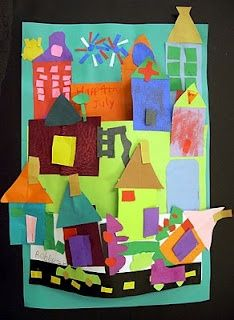 Love this idea for overlapping and depth. Stuart Davis....class project? Each table of students has theme: buildings, vehicles,signs, things in the air, etc., to contribute to collage.