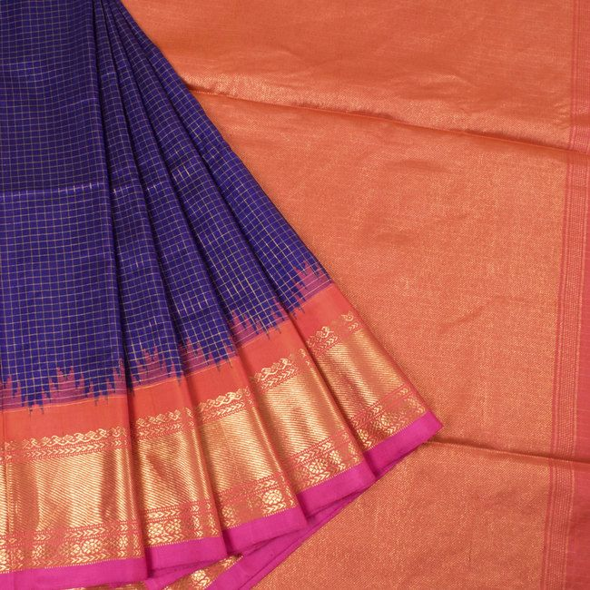 Handwoven Blue Gadwal Kuttu Silk Saree With Checks & Temple Border 10018353 - AVISHYA.COM