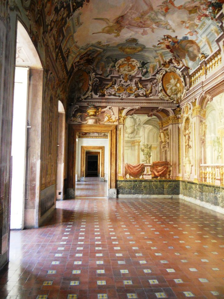 Salon with frescoes with quadratura. Palace of Portici, Italy (Ferdinando Scala )