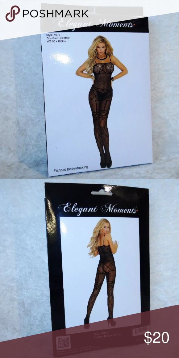 Elegant Moments Crotchless Bodystocking 90-160lbs You will be purchasing a brand new Elegant Moments Fishnet Bodystocking   A black sexy garter and top illusion giving a sex look  The body stocking is crotchless A soft comfortable stretchy material 90% Nylon and 10% Spandex Size 90-160lbs Elegant Moments Intimates & Sleepwear