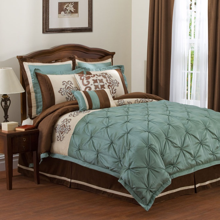 teal/brown bedding - but with grey or black instead of brown