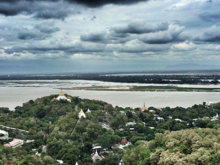 Sagaing hill view. Mandalay ancient cities tour. Myanmar, Burma backpacking SE Asia. Travel