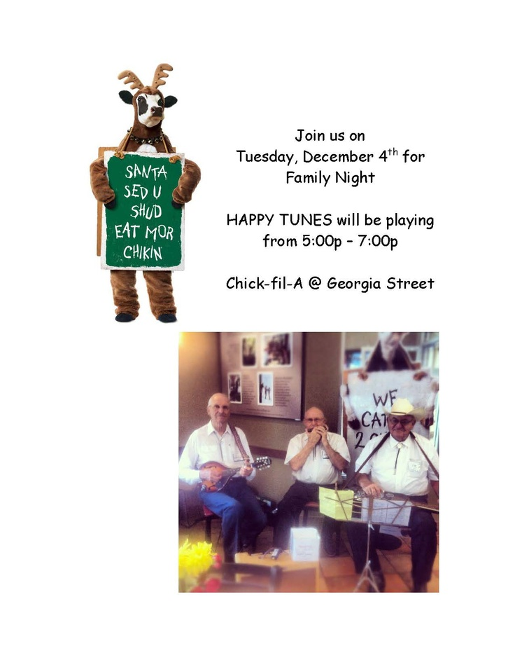 Join us tonight, December 4th, for FAMILY NIGHT! Happy Tunes will be playing.