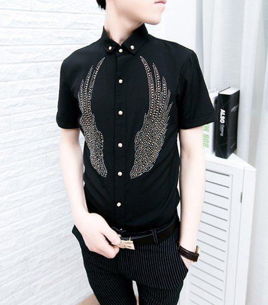 Metal print short sleeves shirt