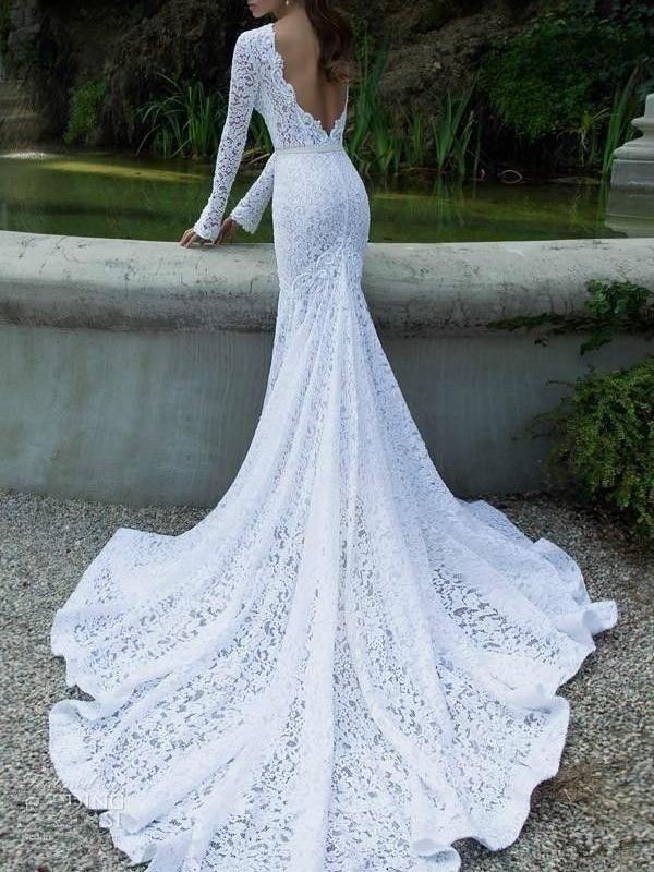 White lace long sleeve backless full length maxi dress