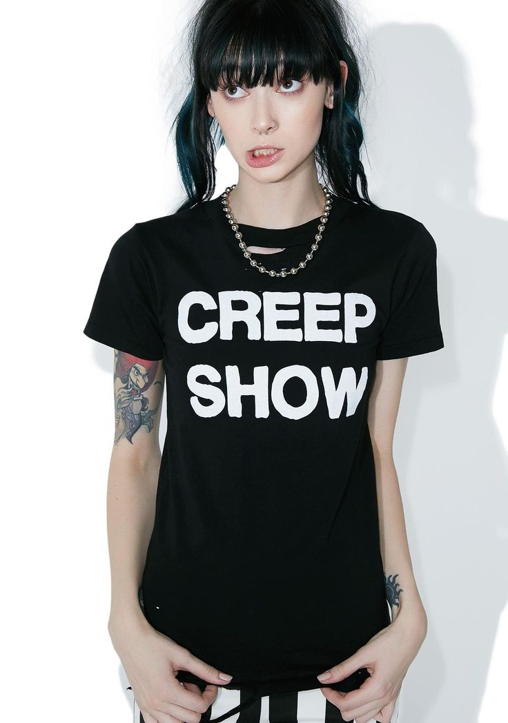 """Local Boogeyman Creep Show Tee yer the most fun they'll ever have being scared, doll! Stay creepy with this bone-chilling tee featuring a supa soft vintage-inspired construction, allover distressing and bold print that reads """"CREEP SHOW""""."""
