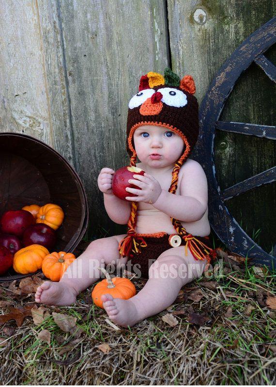 bebé de Turquía sombrero pañal cubierta Crochet traje Turquía