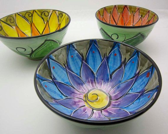 Majolica Pottery Bowl Clay Blue Purple by ClayLickCreekPottery, $ 30.00
