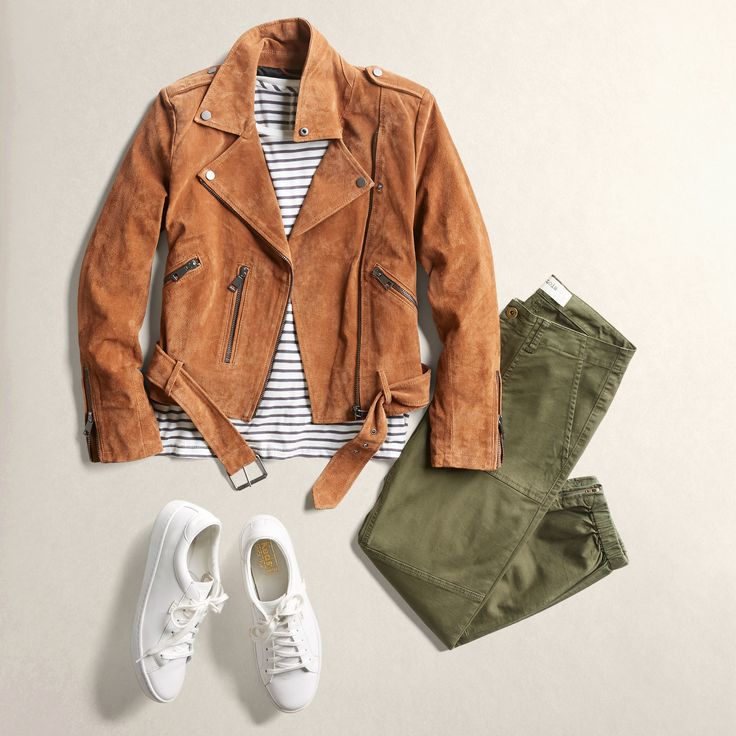 A little bit casual, a little bit rock 'n roll. Add some edge to your sporty weekend wear with a cropped moto jacket. #StylistTip