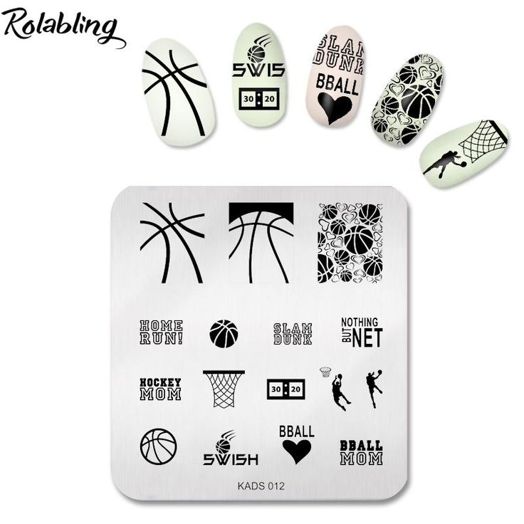 [Visit to Buy] Rolabling Cool Basketball Game Manicure Art Design Tools Nail Stamping Stencil Nail Polish Image Stamp Template #Advertisement