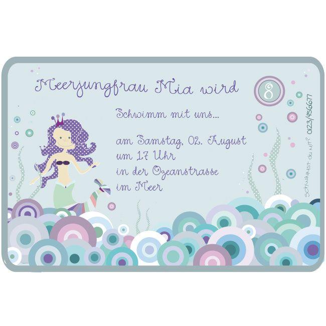 Einladungskarte MEERJUNGFRAU Personalisiert