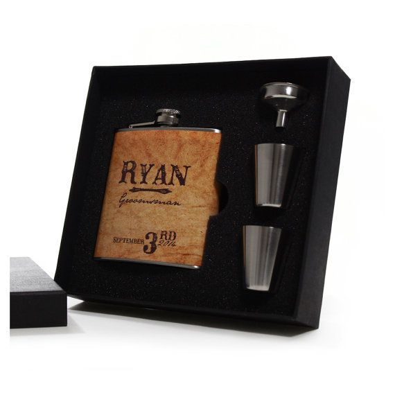 Country Wedding 7 Groomsmen Gift Flask Sets by BluDogDesigns