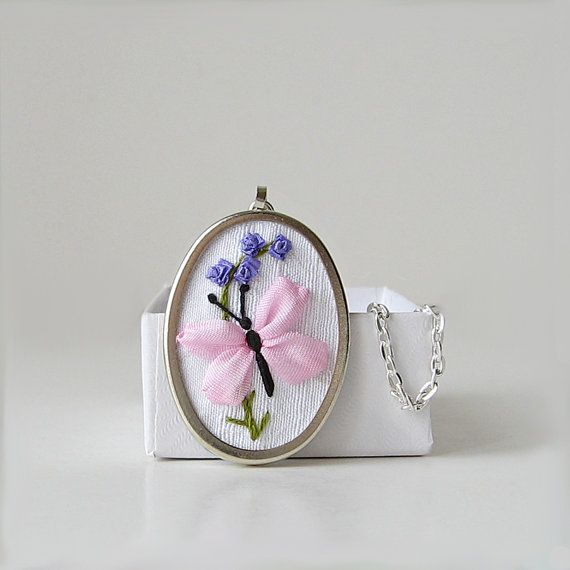 Butterfly necklace, Embroidered jewelry, Silk ribbon embroidery, Pink butterfly jewelry, Oval pendant necklace