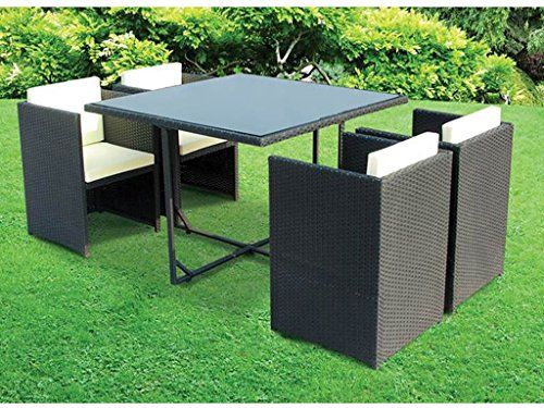 Cube 5 Piece Rattan Garden Patio Furniture Vase Dining Eating Picnic Table  Set