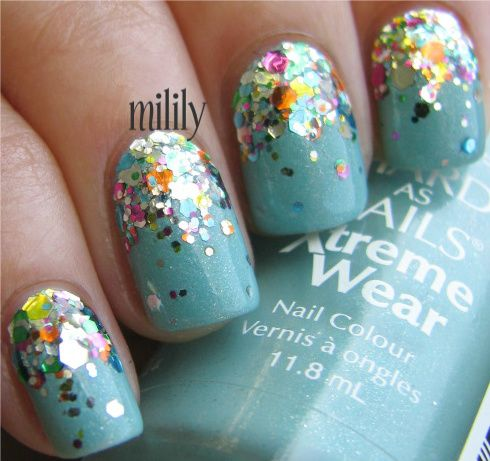 Glitter bottoms.: Nails Art, Blue Rainbows, Beautiful, Glitter Nails, Sparkle Nails, Parties Nails, Gradient Nails, Rainbows Nails, Blue Nails