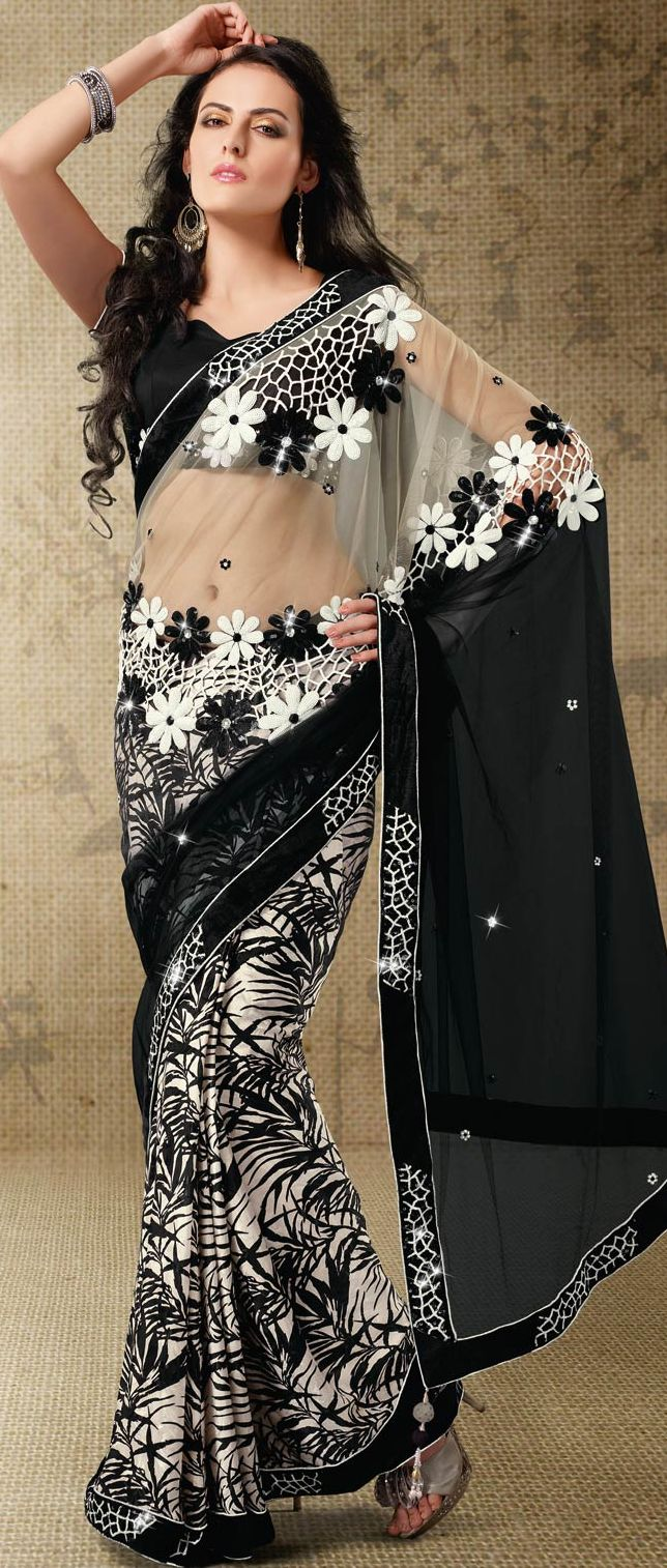 #Beige and Black Net and Crepe Jacquard #Saree With Blouse @ $78.6