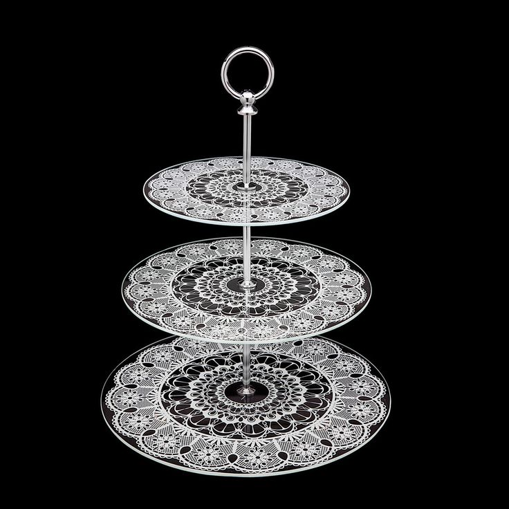 Studio Silversmiths Glass Lace 3 Tier Serving Tray