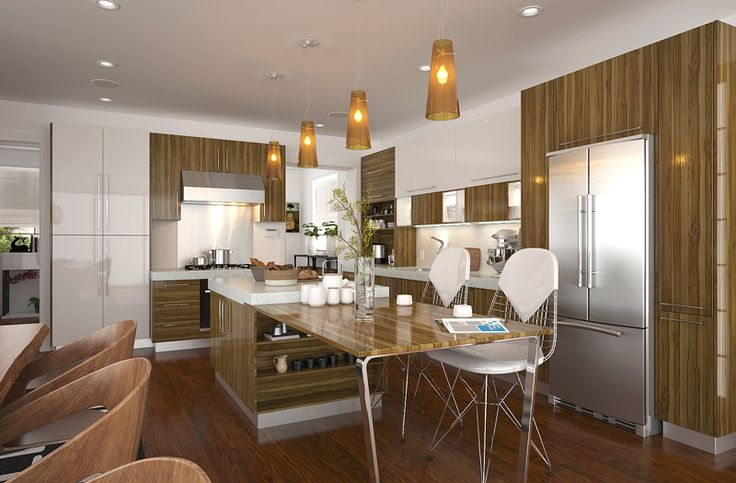 As the material of cabinet doors, melamine finish is economical and practical, due to its durable surface and its feature of easy-cleaning. The combination of wall cabinets, base cabinets and high cabinets provides great storage place in kitchen. Besides, the L-shape layout with an island makes the kitchen look more spacious.