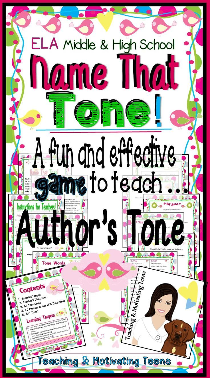 Bring a splash of fun and differentiation to your ELA lesson on author's tone! Students randomly select tones and various phrases to pair. You'll be using an effective scaffolding technique, combining cognitive and affective teaching strategies, while addressing multiple intelligences and learning styles! ☺☺☺ Download includes step-by-step directions for teachers. Use again and again. Enjoy! English Language Arts Games, Junior High and Secondary