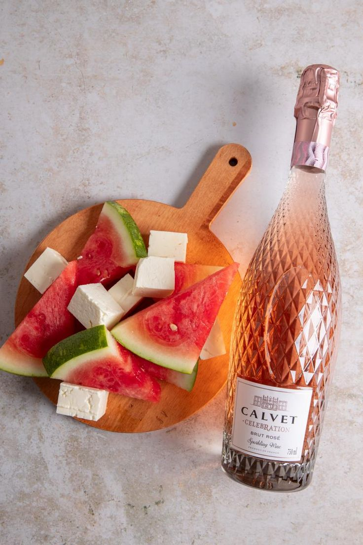Ca Grown Watermelon Belfiore Feta In Brine Calvet Celebration Brut Rose In 2020 Sweet And Salty Dishes California Dreamin