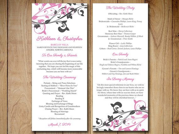 Best  Diy Wedding Program Template Ideas On