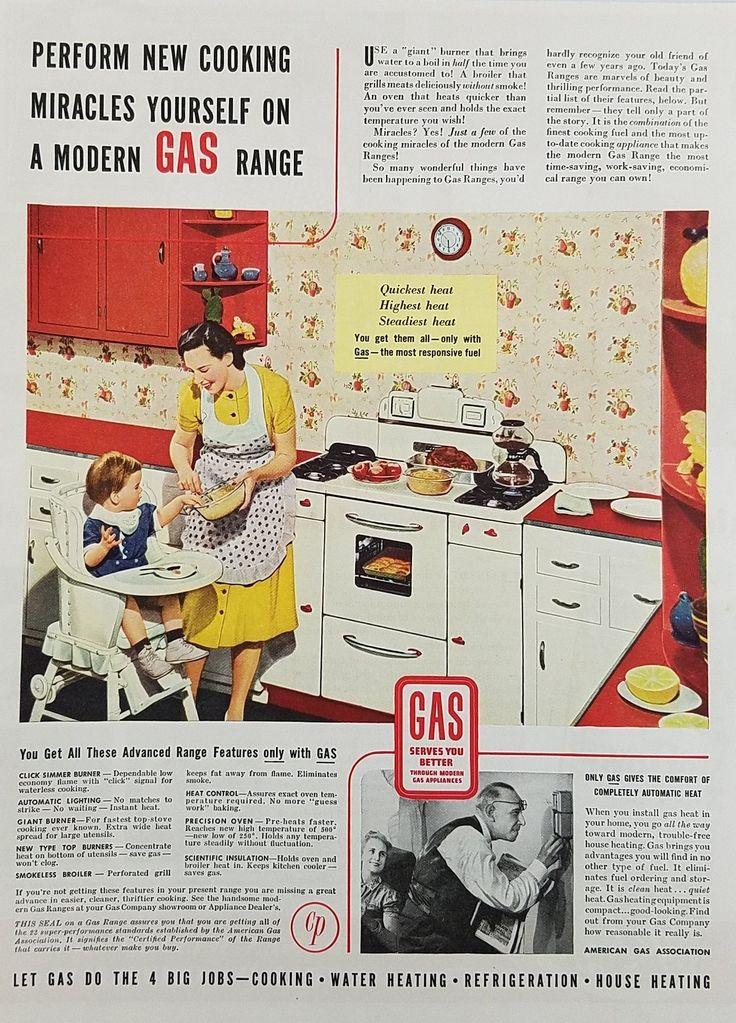 1939 Modern Range American Gas Assoc Vintage Ad - Mother Child Cooking