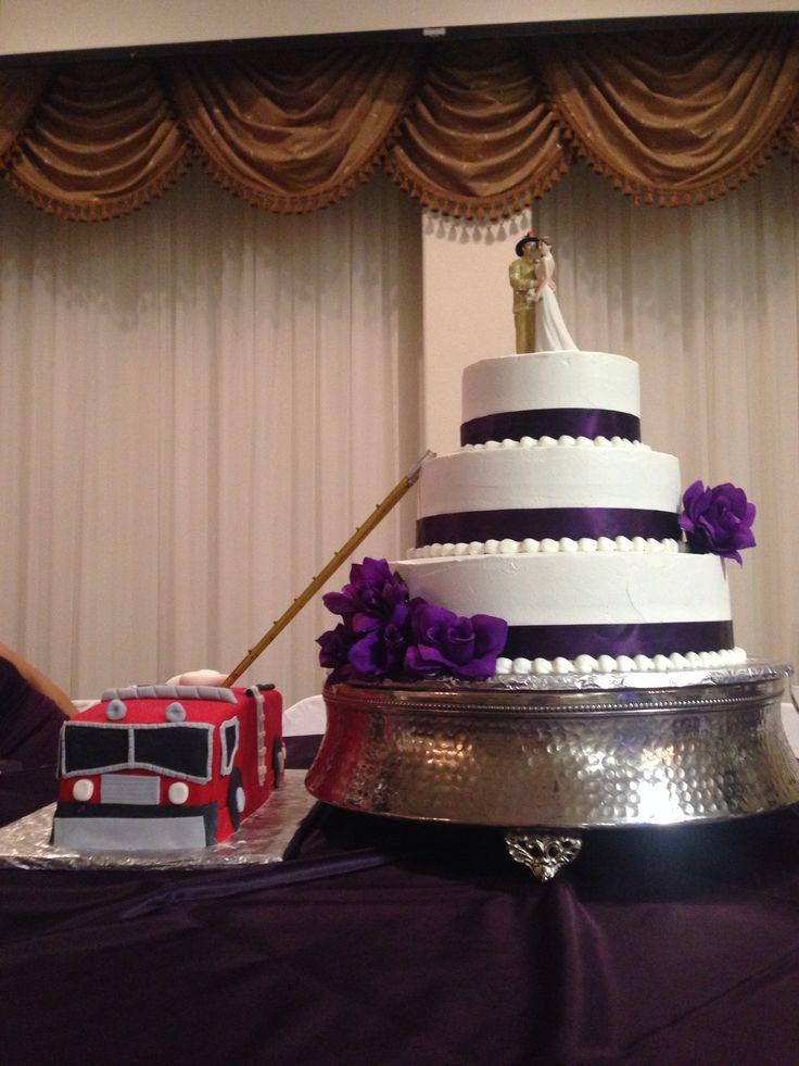 My wedding cake! Purple, firefighter, grooms cake