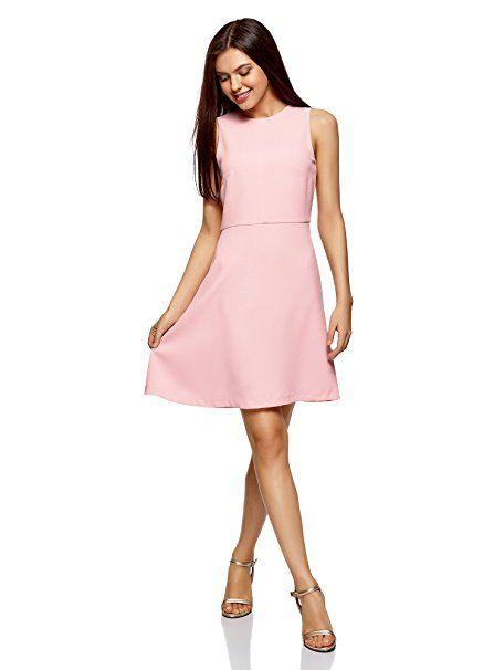 7f301568a64c5c oodji Ultra Damen Ärmelloses Kleid mit Ausgestelltem Rock: - Sommer Hosen  Trends sommer outfit damen