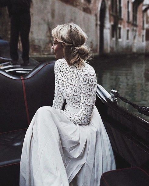 Dress: long sleeve lace lace long sleeve maxi romantic wedding hairstyles…