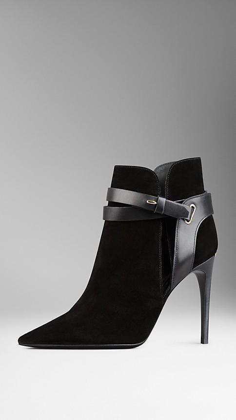 Cutaway Detail Belted Suede Ankle Boots | Burberry