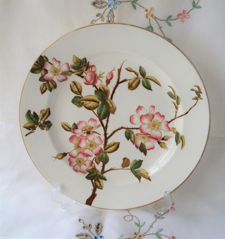 A collectible antique Victorian 'Briar' Aesthetic Movement decorative plate, Stoke Crescent China. c1881. Featuring the sweet briar rose. by Alexsprettyvintage on Etsy
