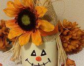 Items similar to Decorated Mason Jar, scarecrow mason jar, halloween jar, Kerr mason jar, pint mason jar, halloween mason jar, centerpiece, burlap on Etsy