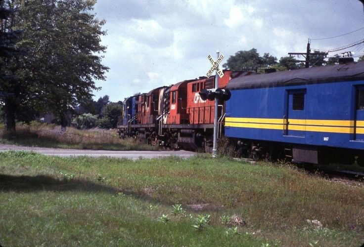 """Bruce Chapman was very fortunate to see this great VIA lash-up in person. VIA RS10 8558 (Their only one), leading two other CP Rail RS10's on VIA train #1 """"the Canadian"""" at Carleton Place, ON."""
