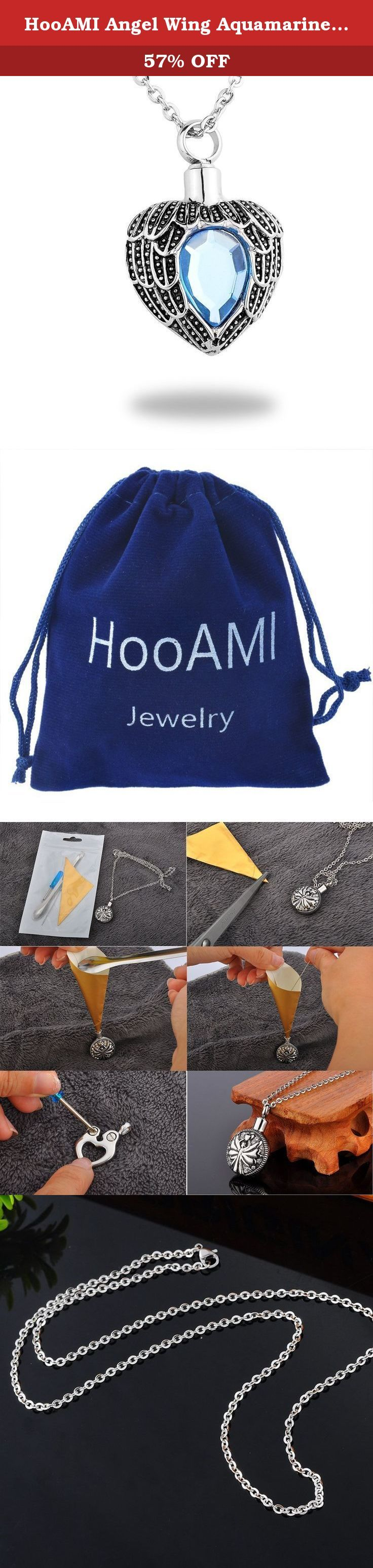 """HooAMI Angel Wing Aquamarine Birthstone Memorial Urn Pendant Necklace Stainless Steel Cremation Jewelry. Description *100% brand new item and high quality. *Impressive craftsmanship,product quality guarantee. *Reasonable price,safty sale and delivery management. *Including one blue velvet bag printed """"HooAMI"""" on it,suitable as a gift! Features Stainless Steel Jewellery *Green high-grade green jewelry - it is completely not produce any side effects on the human body. *Never fade or tarnish…"""