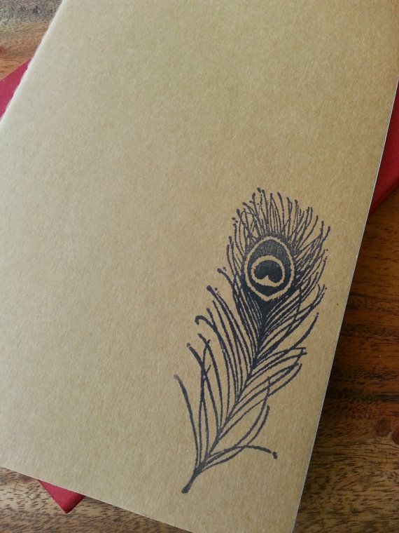 SALE Large Moleskine Peacock Feather Stamped Notebook by MadMapper