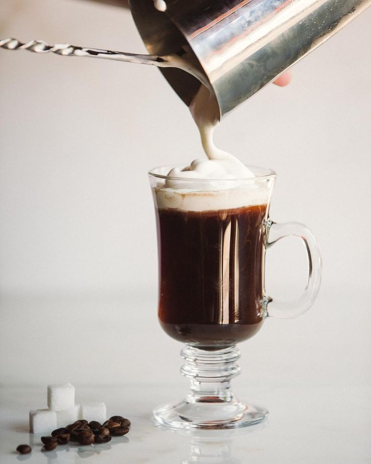 #4IngredientFriday | Irish Coffee: 2 Sugar cubes 1 1/2 Ounces Hot brewed coffee 1 1/2 Ounces Irish Whiskey Lightly whipped cream. . Stir sugar cubes and coffee in preheated Irish coffee glass to dissolve sugar. Add whiskey. Float cream over back of barspoon to fill glass. Serve in an Irish Coffee Glass. . In comparison to Irish whiskey the Irish Coffee is actually a fairly recent invention. In the 1940s the most common air route between America and Europe included a stop in Foynes an air…