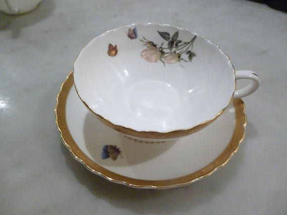 Butterfly and rose cup and saucer with gold trim from T2 fine