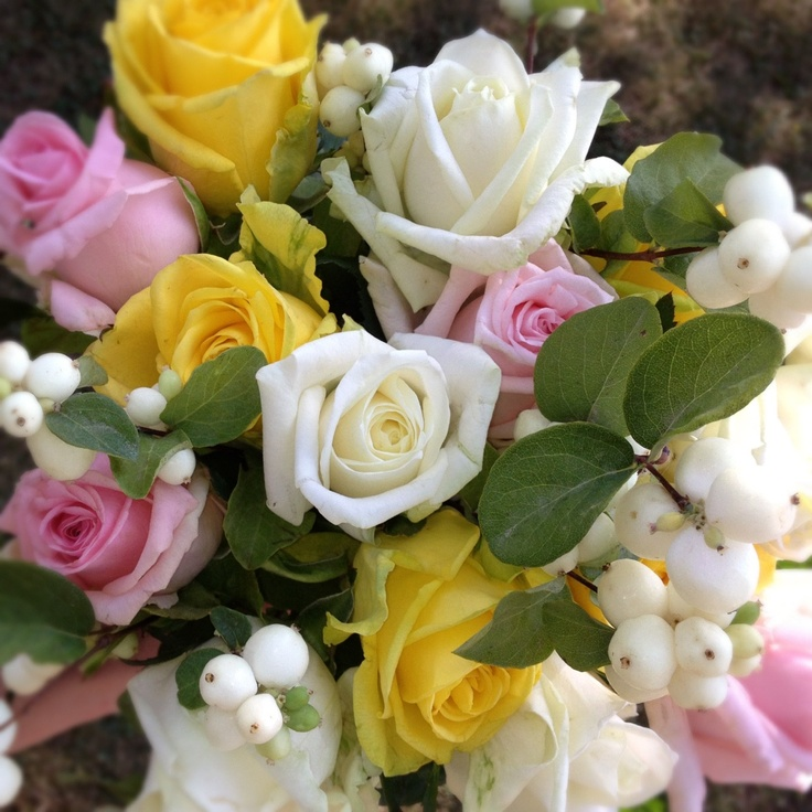 Wedding Flowers By Annette: Roses & Snowberries @apkoroses.com
