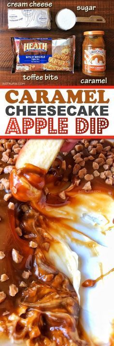 Easy No-Bake Caramel Cheesecake Apple Dip-- the BEST dessert recipe for the holidays! Perfect for Christmas and Thanksgiving, and it feeds a crowd. Plus you can make it ahead of time! Instrupix.com