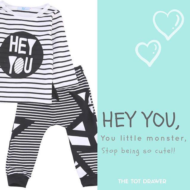 Hey you,   you little monster,   Stop being so cute 🙈🙈  .  Cute set for 0-24 Months  .  .  .  .  .  #thetotdrawer #baby #babies #babyboy #babygirl #babygram #babyfashion #toddler #toddlerapparel #toddlerfashion #trendytots #trendybaby #trendykids #trendykidz #trendyigkids #kiddies #kidsfashion #kidstyle #kidwear #childrenswear #childrenfashion #heyyou #geometric #pullover #pants #set #cutekidsfashion #cutekidsclub