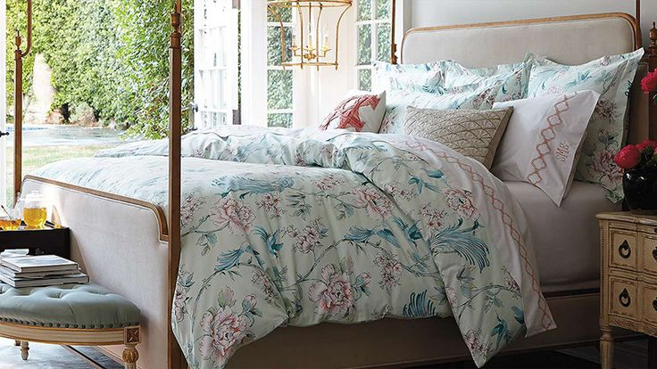 Chinoiserie prints work equally well on fabrics, as proven by this beautiful Margeaux chinoiserie bedding, available at frontgate.com. Mix with other prints and furniture in similar shades for an elegant look.