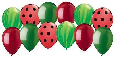 "Included: 12 Balloons Total 11"" Mixed Latex Balloons (3 Green Agate, 3 Black Polka Dots on Red, 3 Green, 3 Red) These items may arrive flat or in retail packaging All balloons sold online are shipped"