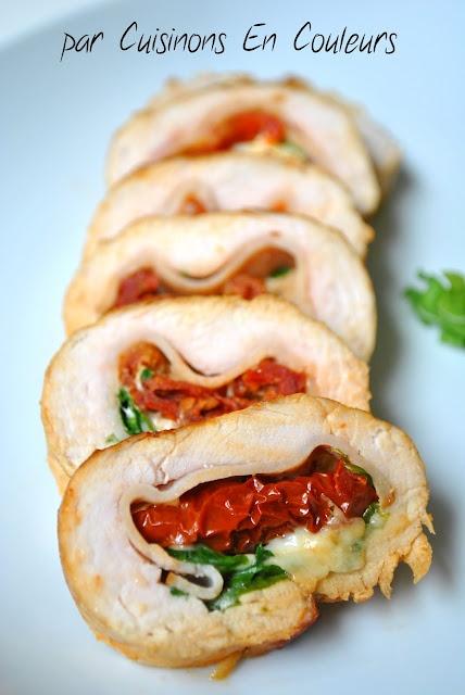 Escalopes de dinde farcie aux tomates séchées, à la roquette et à la mozzarella