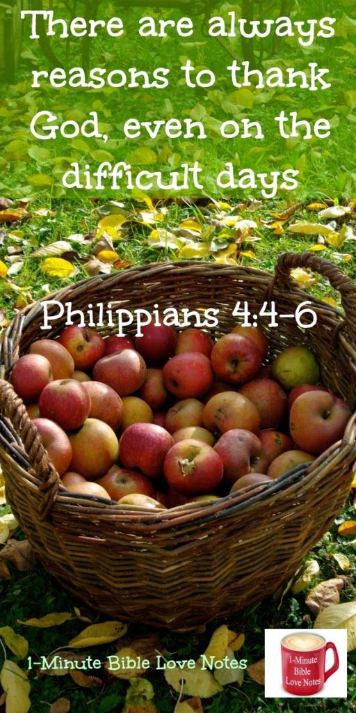 Sometimes have difficulty being thankful? This suggestion from Phil. 4:6 will help. ~  1-minute devotion.