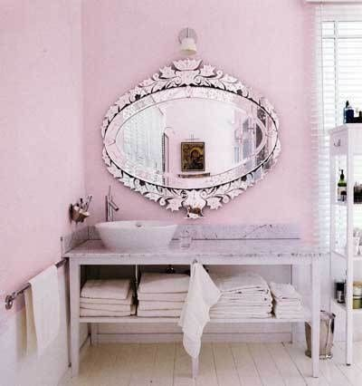 My BR used to be this color. I love the mirror, obviously. Love, too, the lavender/pink contrast and also the mirror contrast with rest of design